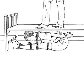中共酷刑示意圖:壓床板