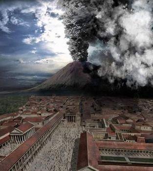 ''油畫:龐貝火山噴發''