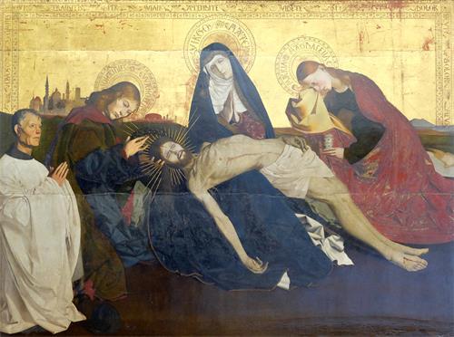 圖例:《阿維尼翁的聖母憐子》(Pietà de Villeneuve-lès-Avignon),木板坦培拉,163 × 218 釐米,此畫作者被學界鑑定為法國畫家Enguerrand Quarton,作於1455-1460年間。畫中最左側人物為此畫的捐贈出資人。