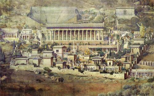 圖: 法國建築師圖爾奈爾( Joseph Albert Tournaire)根據德爾斐(Delphi)的阿波羅神廟遺址所作的復原圖,繪於1894年 。(網絡圖片)