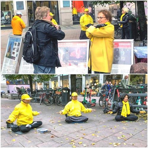 '圖1:二零二一年十月一日下午,法輪功學員在斯德哥爾摩市中心附近的公共廣場(Stureplan)舉辦講真相活動,展示功法並徵集反迫害簽名。'