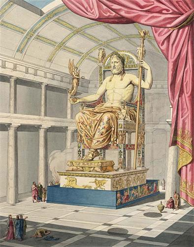 古代世界七大奇迹之一的奥林匹亚宙斯神像示意图,由法国考古学家、建筑学家兼艺术史家卡特勒梅尔﹒德﹒坎西(Quatremère de Quincy)绘于1815年。奥林匹亚宙斯神像是由古希腊雕塑家菲迪亚斯(Phidias)于公元前435年左右完成的作品,放置在希腊奥林匹亚城的宙斯神庙内。神像高约12米,相传由镀金的铜、宝石、象牙及黄金制成。据古籍描述,宙斯一手拿着权杖,一手托著胜利女神,威严地坐在宝座上。神像于公元五世纪的一场火灾后失踪,但由于这件作品在历史上举世瞩目的艺术成就,一直被评为古代世界七大奇迹之一。