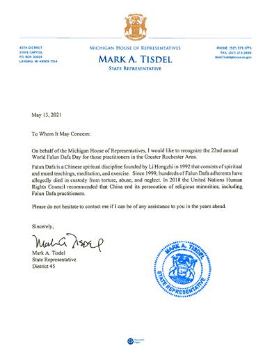 '图9:第四十五区州众议员马克﹒A﹒提斯德尔的贺信'