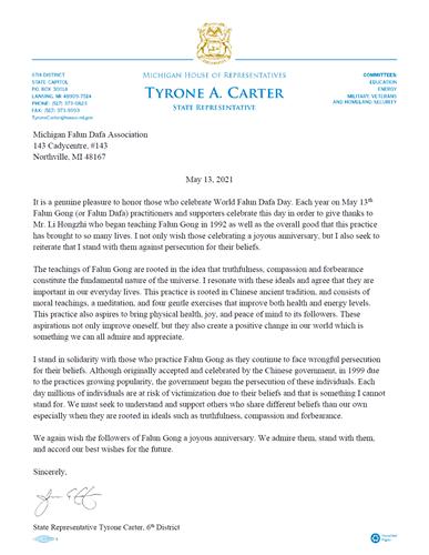 '图10:第六区的州众议员泰隆﹒卡特的贺信'