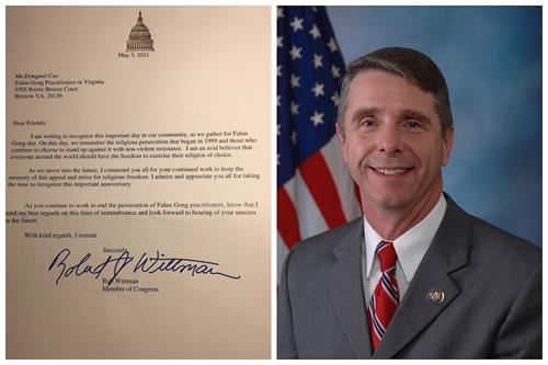 """'图4:美国维吉尼亚州联邦众议员罗伯特﹒惠特曼(RobertWittman)为""""世界法轮大法日""""发贺信。'"""